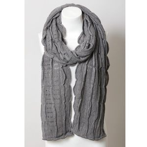Gray Scalloped Scarf Women Knit Ruffle Grey Wrap